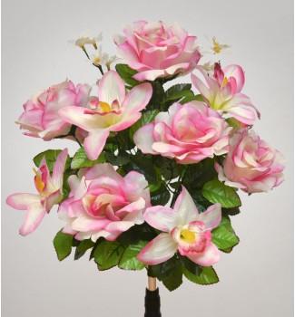 Розы и орхидеи, букет 14 головок