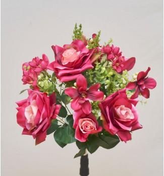 Розы открытые с орхидеями и пластиковыми добавками, букет 12 головок