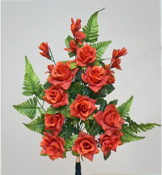 Розы с гладиолусом, односторонний букет 12 головок