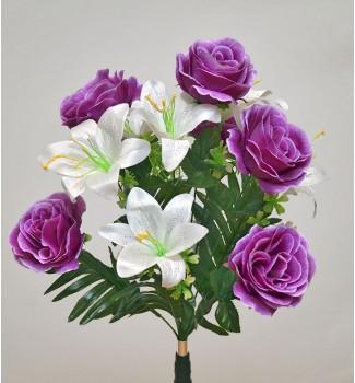 Розы и лилии, букет 12 головок
