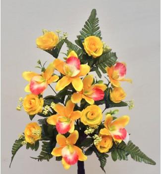 Роза с орхидеей, односторонний букет 14 головок