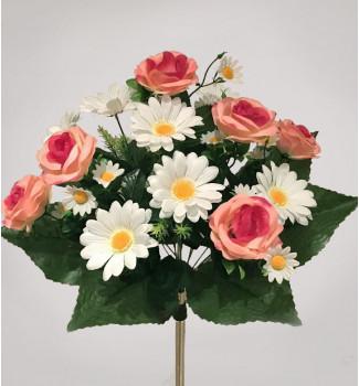 Розы с ромашками, букет 15 головок