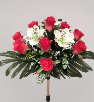 Розы с альстромерией, букет 13 головок