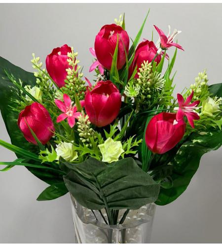 Тюльпаны с полевыми цветами, 7 головок