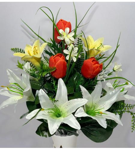 Композиция из тюльпанов и лилий с зеленью, 12 головок