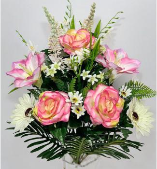 Роза, магнолии и герберы с полевыми цветами, 24 веточки