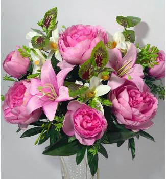 Пионы и лилии с веточками жасмина, 13 головок
