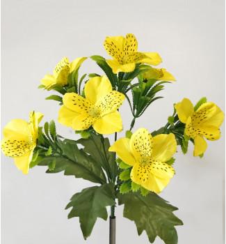 Орхидеи с подкустником, букет 7 головок