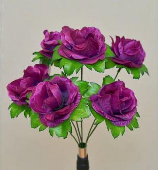 Роза открытая в розетке, букет 6 головок