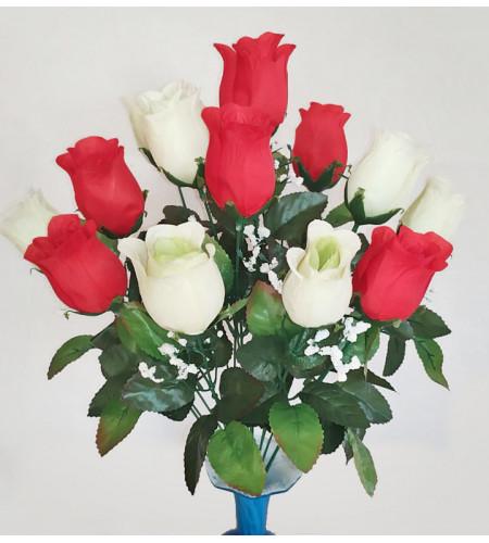 Роза с кашкой, букет 14 головок