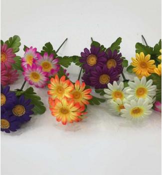Ромашки разноцветные, букет 5 головок
