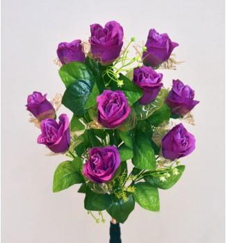 Розы в фатине, букет 11 головок