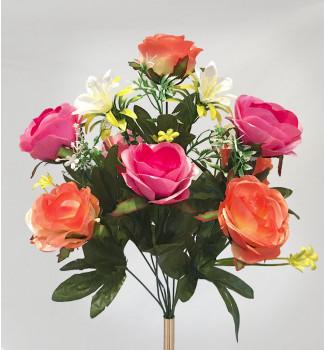 Розы атласные с добавками, букет 10 головок
